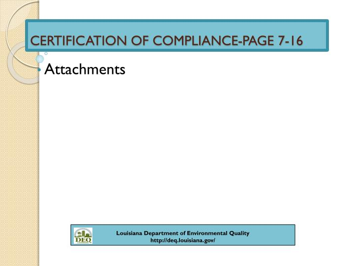 CERTIFICATION OF COMPLIANCE-PAGE 7-16