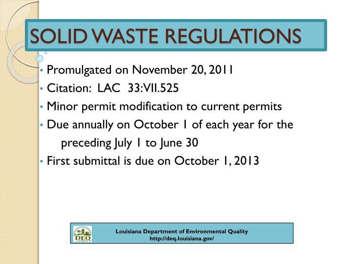 Solid waste regulations