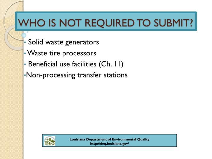 WHO IS NOT REQUIRED TO SUBMIT?