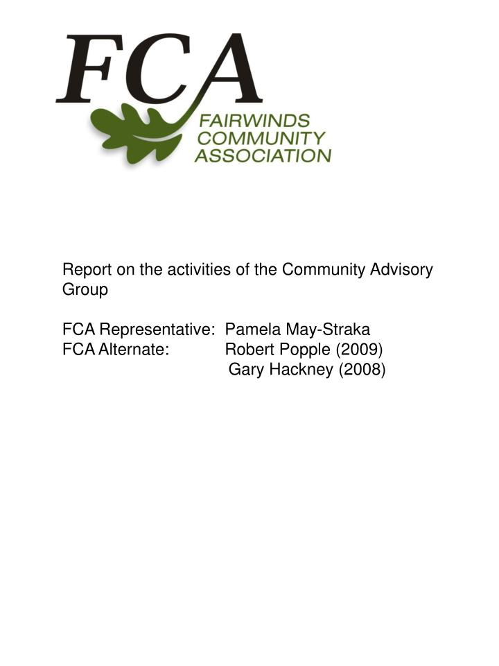 Report on the activities of the Community Advisory