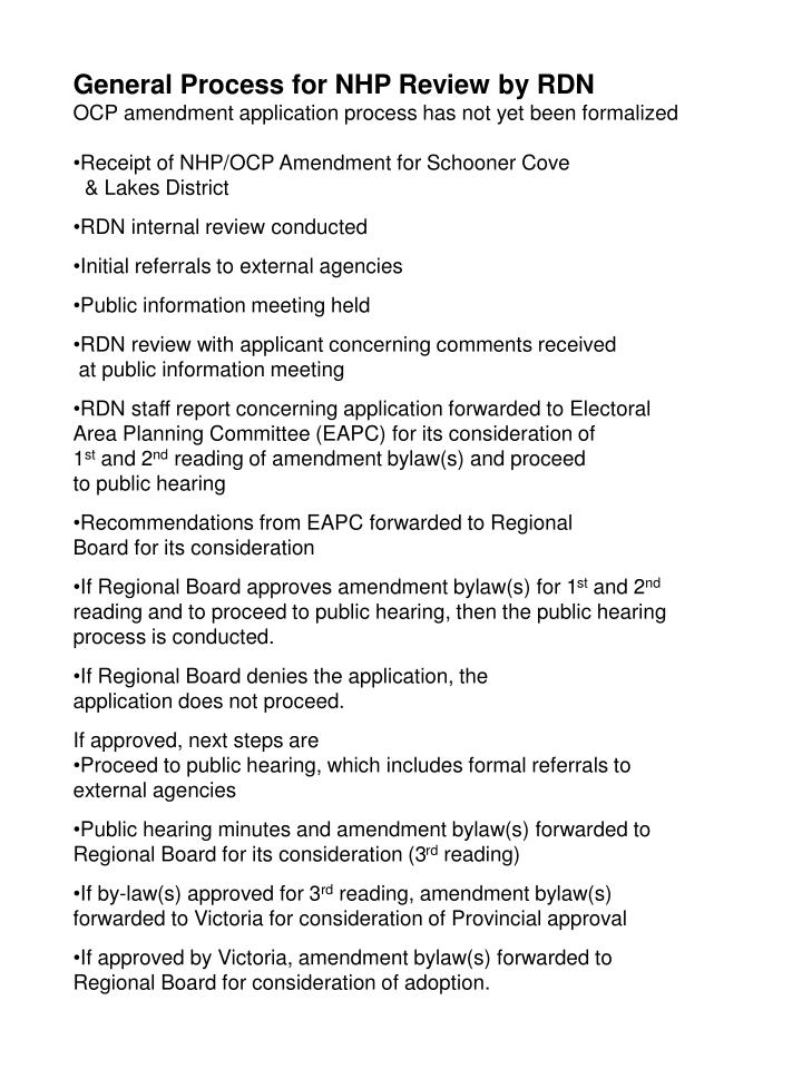 General Process for NHP Review by RDN