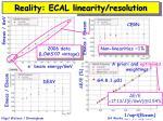 reality ecal linearity resolution