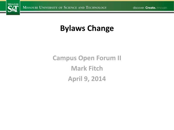 Bylaws Change