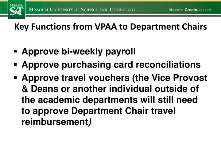 Key Functions from VPAA to Department Chairs