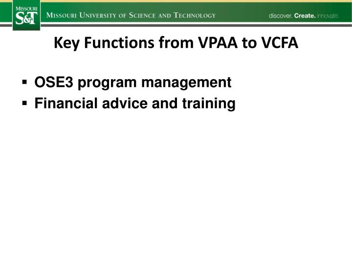 Key Functions from VPAA to VCFA
