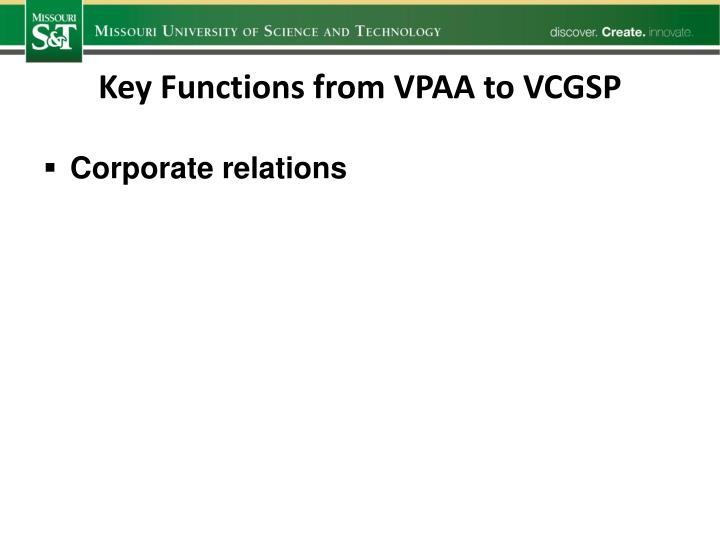 Key Functions from VPAA to VCGSP