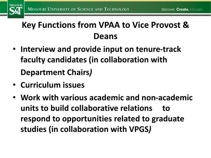 Key Functions from VPAA to Vice Provost & Deans