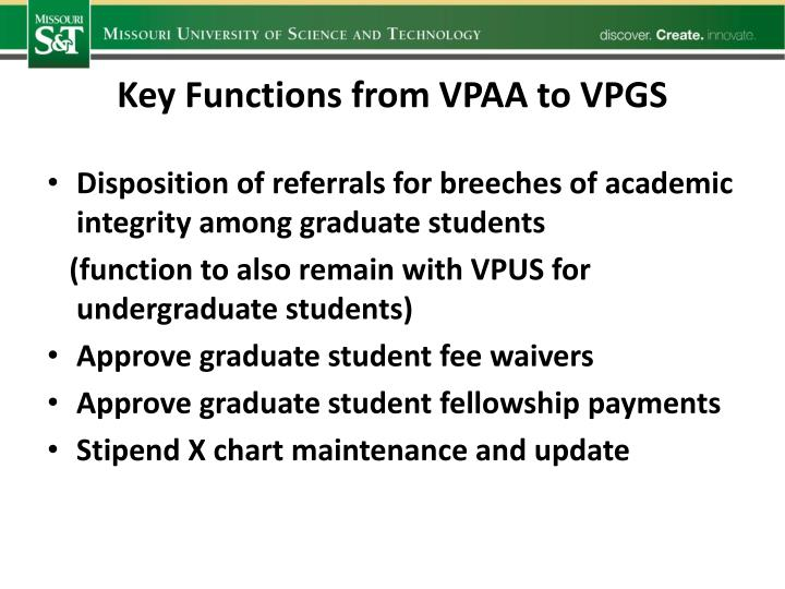 Key Functions from VPAA to VPGS