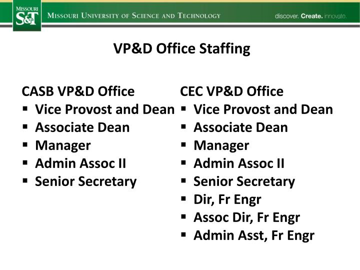 VP&D Office Staffing