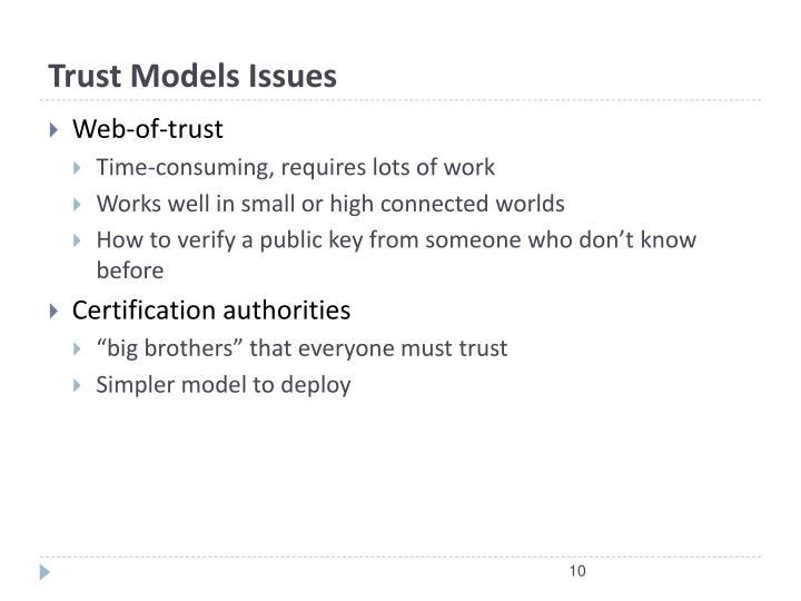 Trust Models Issues