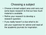choosing a subject