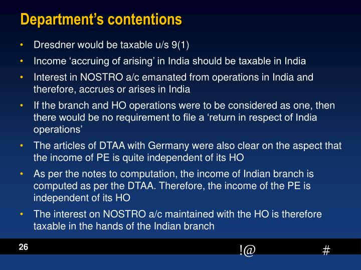 Department's contentions