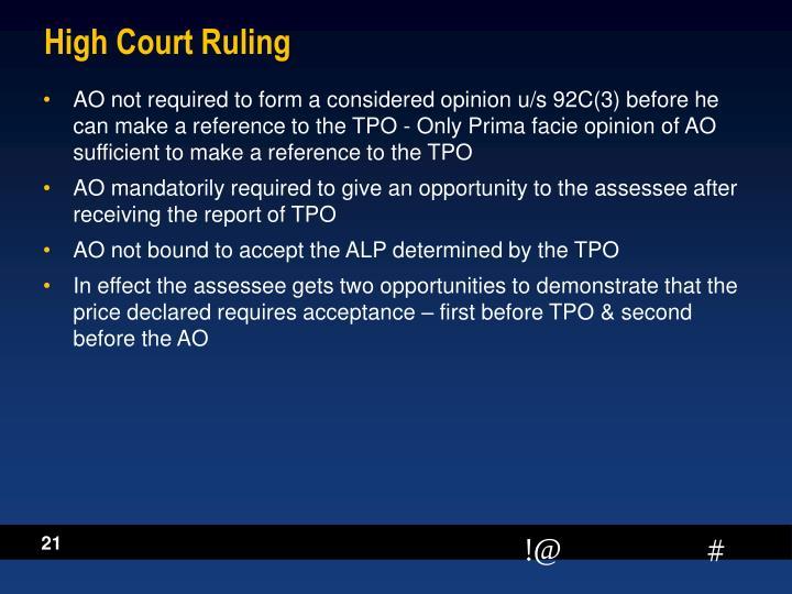 High Court Ruling