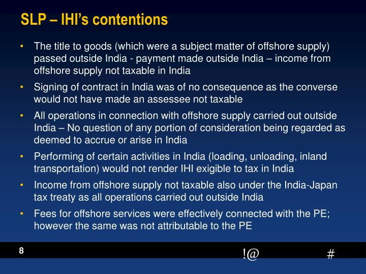 SLP – IHI's contentions