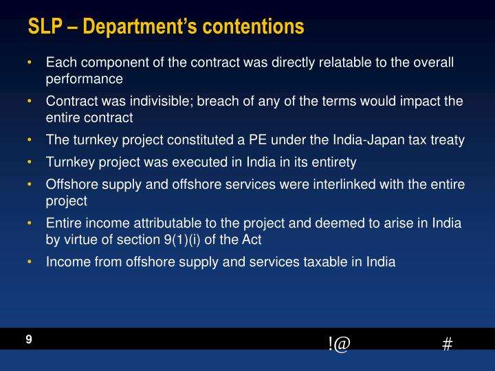 SLP – Department's contentions