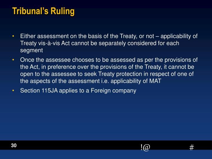 Tribunal's Ruling