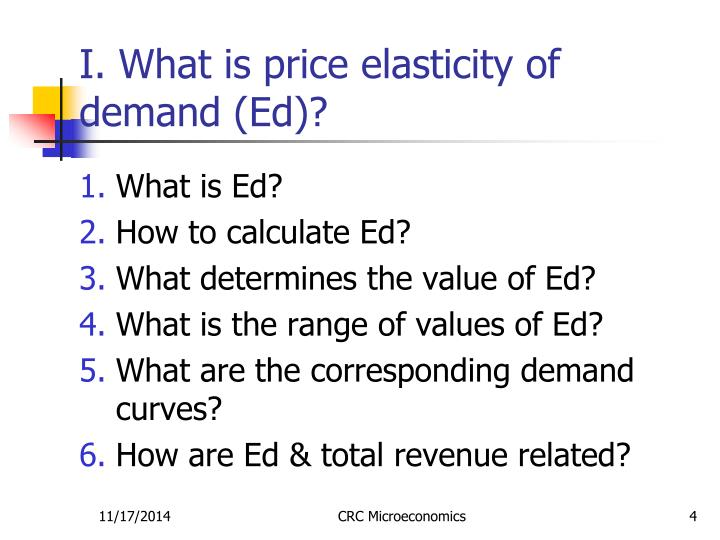I. What is price elasticity of demand (Ed)?