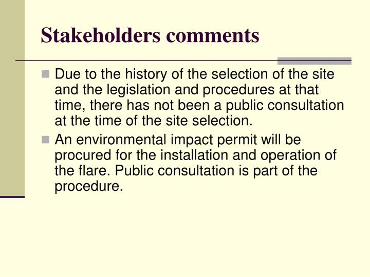 Stakeholders comments