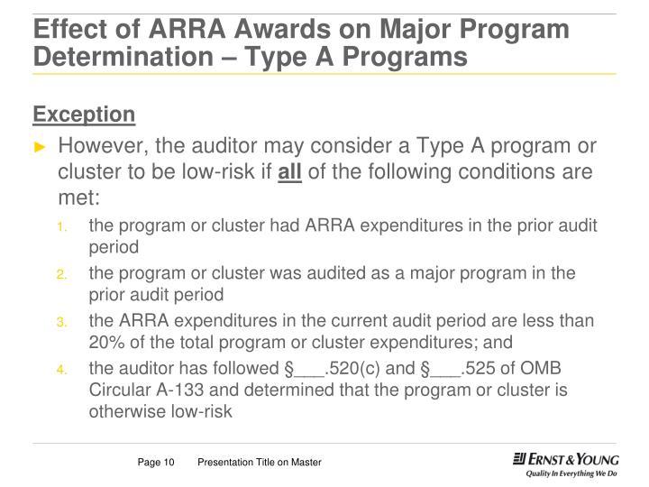 Effect of ARRA Awards on Major Program Determination – Type A Programs