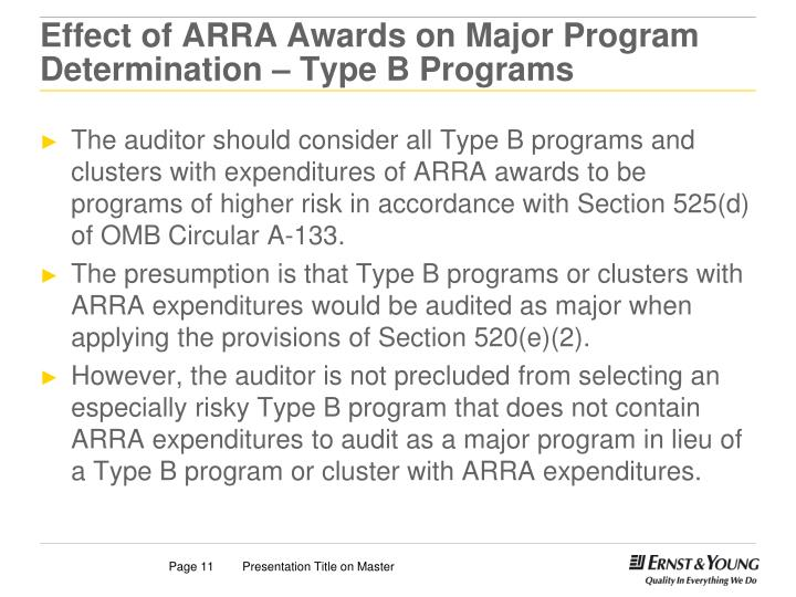 Effect of ARRA Awards on Major Program Determination – Type B Programs