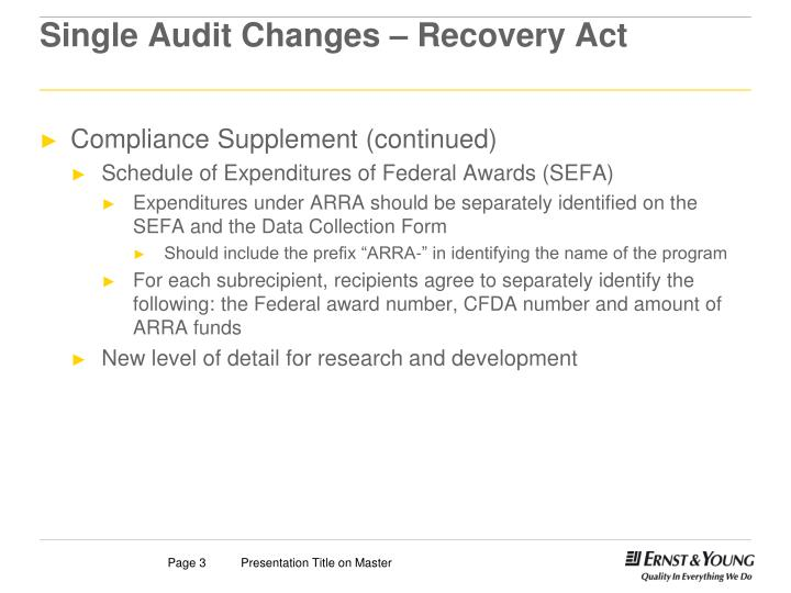 Single audit changes recovery act2