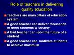 role of teachers in delivering quality education
