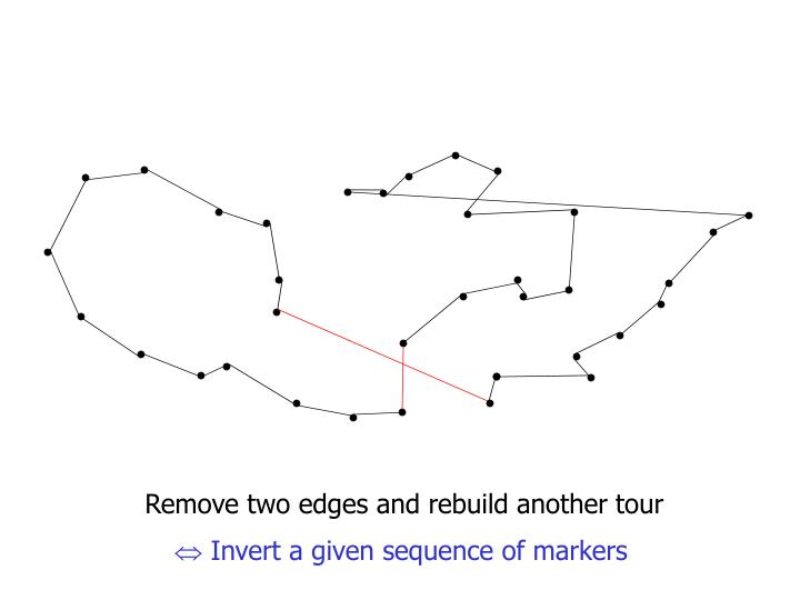 Remove two edges and rebuild another tour