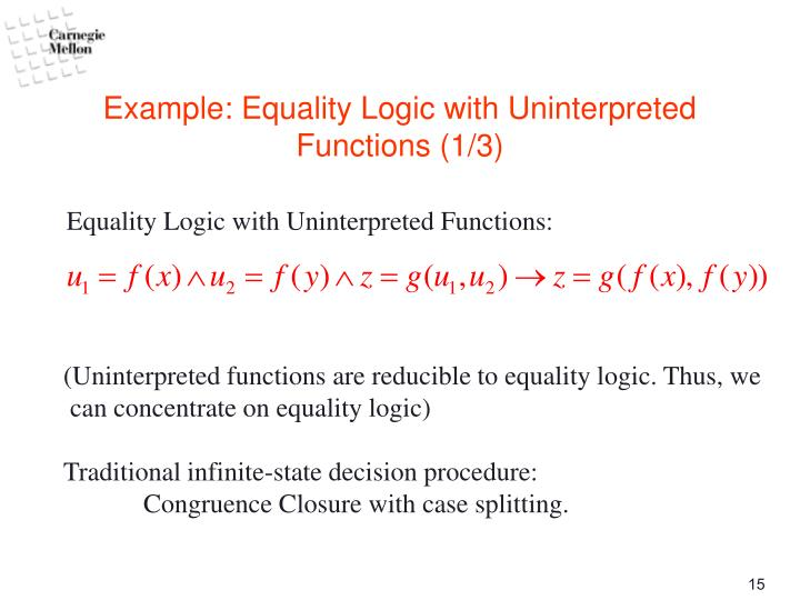 Example: Equality Logic with Uninterpreted Functions (1/3)