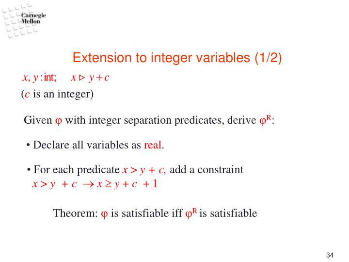 Extension to integer variables (1/2)