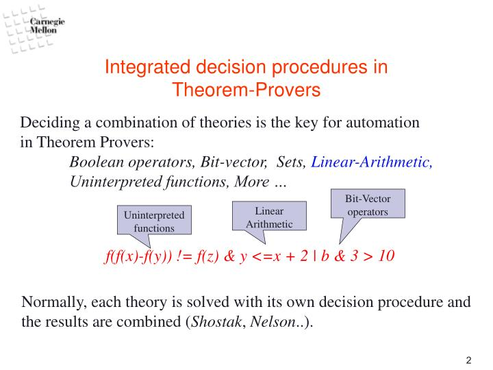 Integrated decision procedures in theorem provers