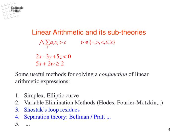 Linear Arithmetic and its sub-theories
