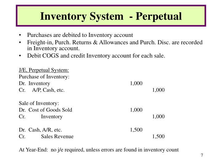 Inventory System  - Perpetual