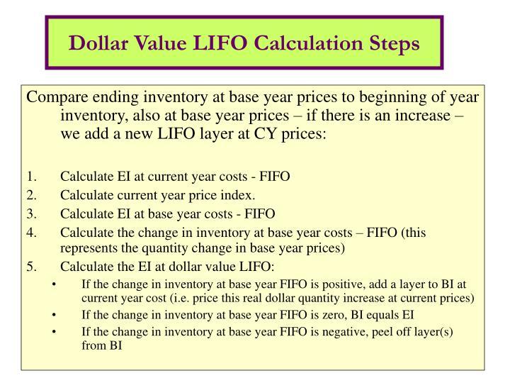 Dollar Value LIFO Calculation Steps