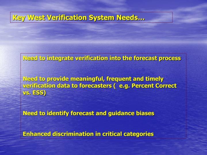 Key West Verification System Needs…