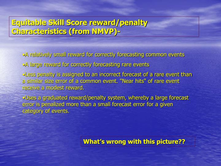 Equitable Skill Score reward/penalty Characteristics (from NMVP)-