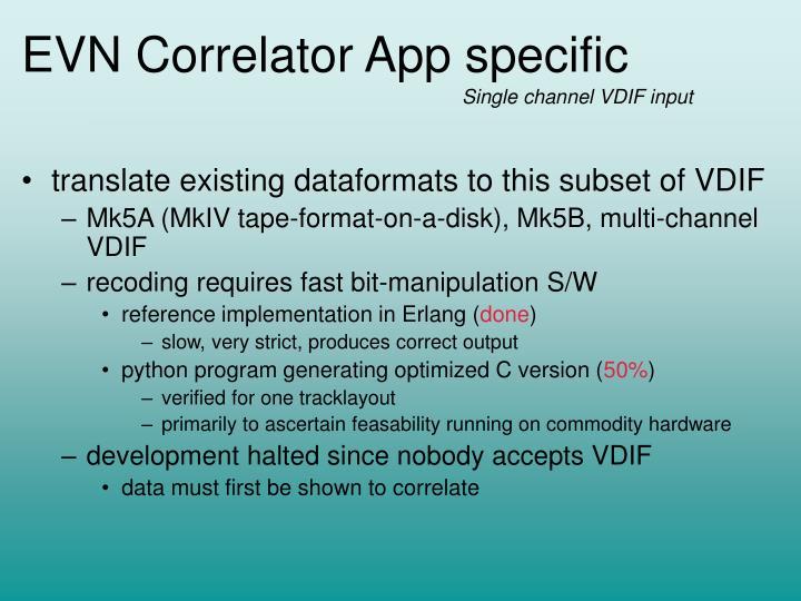 EVN Correlator App specific