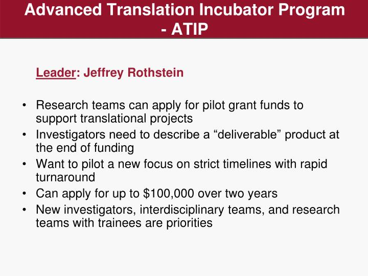 Advanced Translation Incubator Program - ATIP