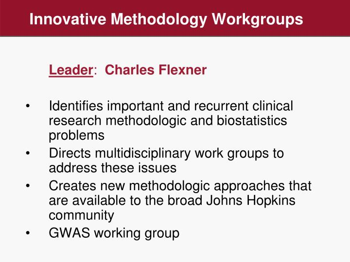 Innovative Methodology Workgroups
