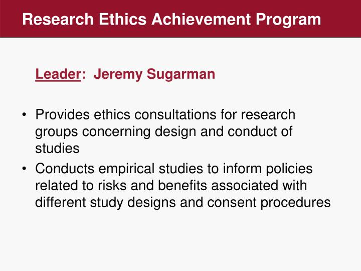 Research Ethics Achievement Program