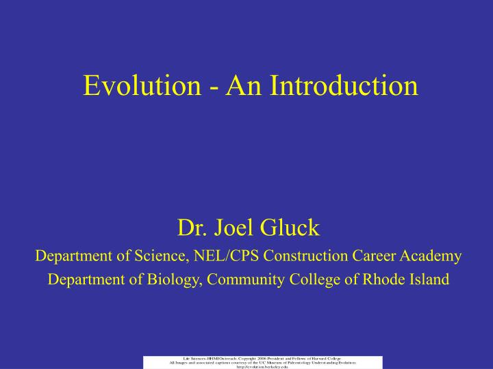Evolution an introduction