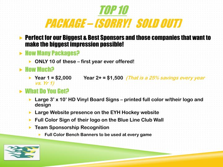Top 10 package sorry sold out
