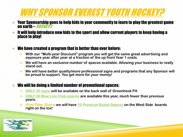 Why sponsor everest youth hockey