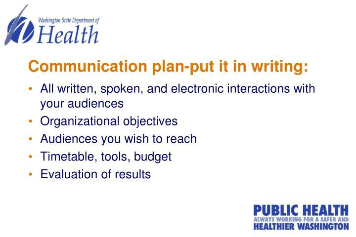 Communication plan-put it in writing: