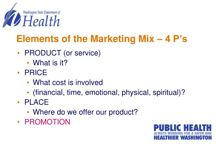 Elements of the marketing mix 4 p s
