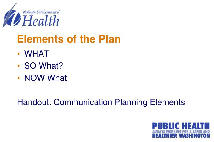 Elements of the Plan