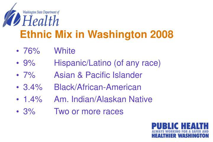 Ethnic Mix in Washington 2008