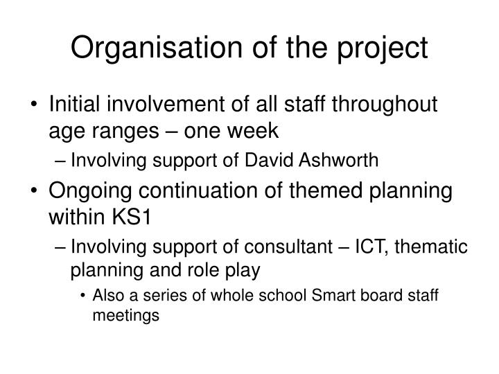 Organisation of the project