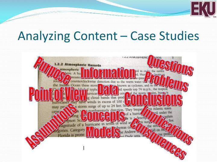 Analyzing Content – Case Studies