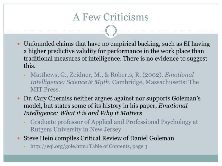 A Few Criticisms