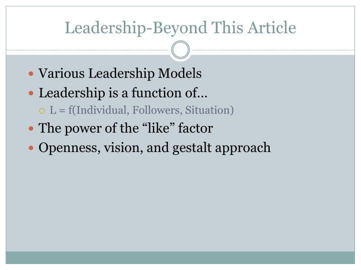 Leadership-Beyond This Article